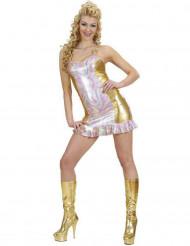 Holografisk multi- og guldfarvet kostume dame