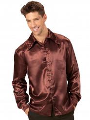 Skjorte satin brun til mænd