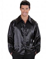 Skjorte satin sort til mænd