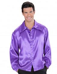 Skjorte satin violet til mænd