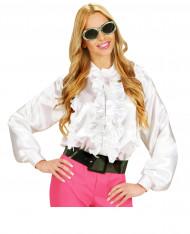 Hvid skjorte med plys dame