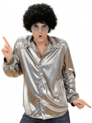 Holografisk disko-skjorte sølvfarvet herre