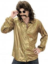 Guldfarvet holografisk disko-skjorte herre