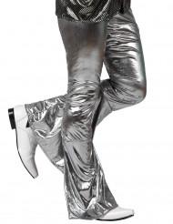 Holografiske sølvfarvede disko-bukser herre