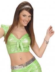 Top holografisk grøn med sløjfe sexy til kvinder