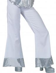 Bukser disco hvide med pailletter på bunden til kvinder