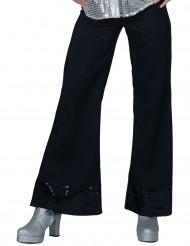 Bukser disco sorte med pailletter i bunden til kvinder