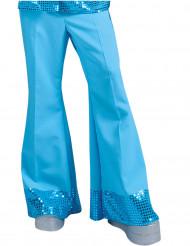 Bukser disco blå med pailletter på bunden til mænd