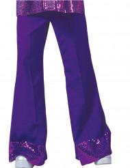 Bukser disco lilla med pailletter på bunden til mænd