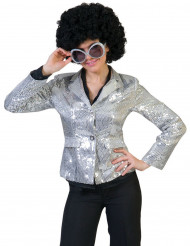 Jakke disco sølv med pailletter luksus til kvinder
