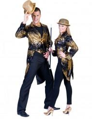 Svalehale jakke i sort og guld til voksne