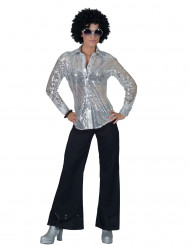 Skjorte disco sølv med pailletter til kvinder