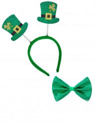Kit hårbånd og butterfly Saint Patrick til voksne
