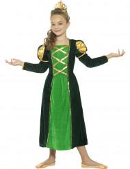 Grønt middelalder prinsessekostume til piger