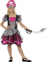 Piratdatter - Lyserødt og sort piratkostume til piger