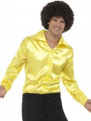 Skjorte satineffekt gul til mænd
