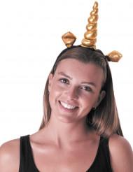 Guldfarvet unicorn hårbånd til voksne