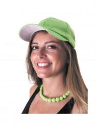 Kasket sport med pailletter grøn til voksne