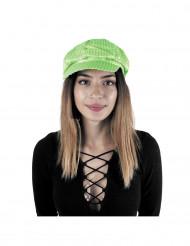 Kasket disco med pailletter grøn neon til voksne