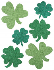 6 dekorationer grønne firkløvere