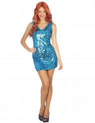 Kostume kjole disko sexet blå til kvinder