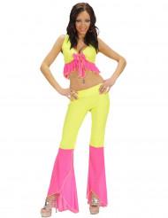 Kostume sexet disco neon gul og lyserød til kvinder