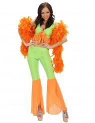 Kostume sexet disco neon grøn og orange til kvinder