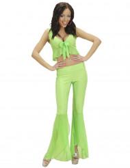 Sexet neon grønt diskokostume dame
