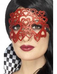 Maske med røde pailletter