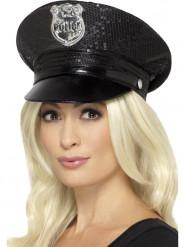Sort politihat med pailletter til kvinder
