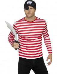 T-shirt stribet rød og hvid til voksne