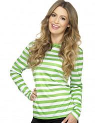 T-shirt stribet grøn og hvid til voksne