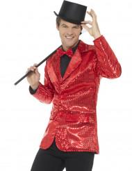 Disco jakke i rød paillet til mænd