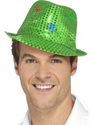 Hat borsalino grøn med pailletter og LED til voksne