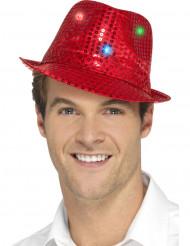 Hat borsalino rød med pailletter og LED til voksne