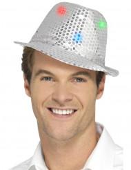 Hat borsalino sølv med pailletter og LED til voksne