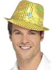 Hat borsalino guld med pailletter og LED til voksne