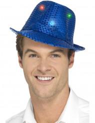 Hat borsalino blå med pailletter og LED til voksne