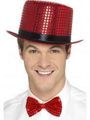 Tophat med røde pailletter og et sort bånd til voksne