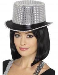 Tophat med sølvpailletter og sort bånd til voksne