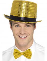 Tophat med guldglimmer og et sort bånd til voksne