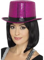 Tophat med pink pailletter og sort bånd til voksne