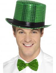 Tophat med grønne pailletter og sort bånd til voksne