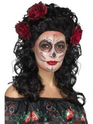 Paryk lang sort med roser Dia de los Muertos
