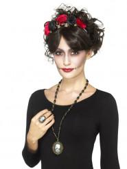 Gotisk halskæde og ring med skelet - Halloween