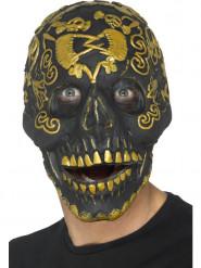 Maske med gylden dødningehoved til voksne