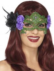 Grøn maske med blonder
