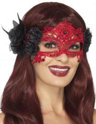 Halvmaske røde blonder med sorte blomster