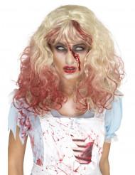 Paryk blond blodig til kvinder Halloween