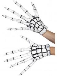 Latex skelet handsker til voksne - Halloween